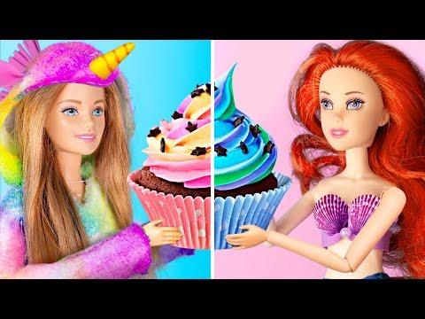 10 DIY Mini Einhorn vs Meerjungfrau Süßigkeiten / Mini Süßigkeiten Für Barbie