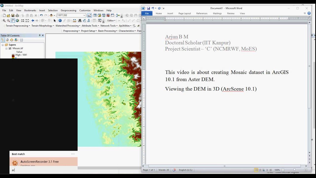 Mosaic ASTER DEM In ArcGIS YouTube - Aster dem data