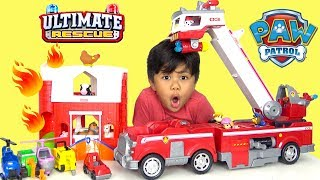 NEW PAW PATROL Ultimate Rescue Fire Truck Toys Unboxing Fun With TBTFUNTV