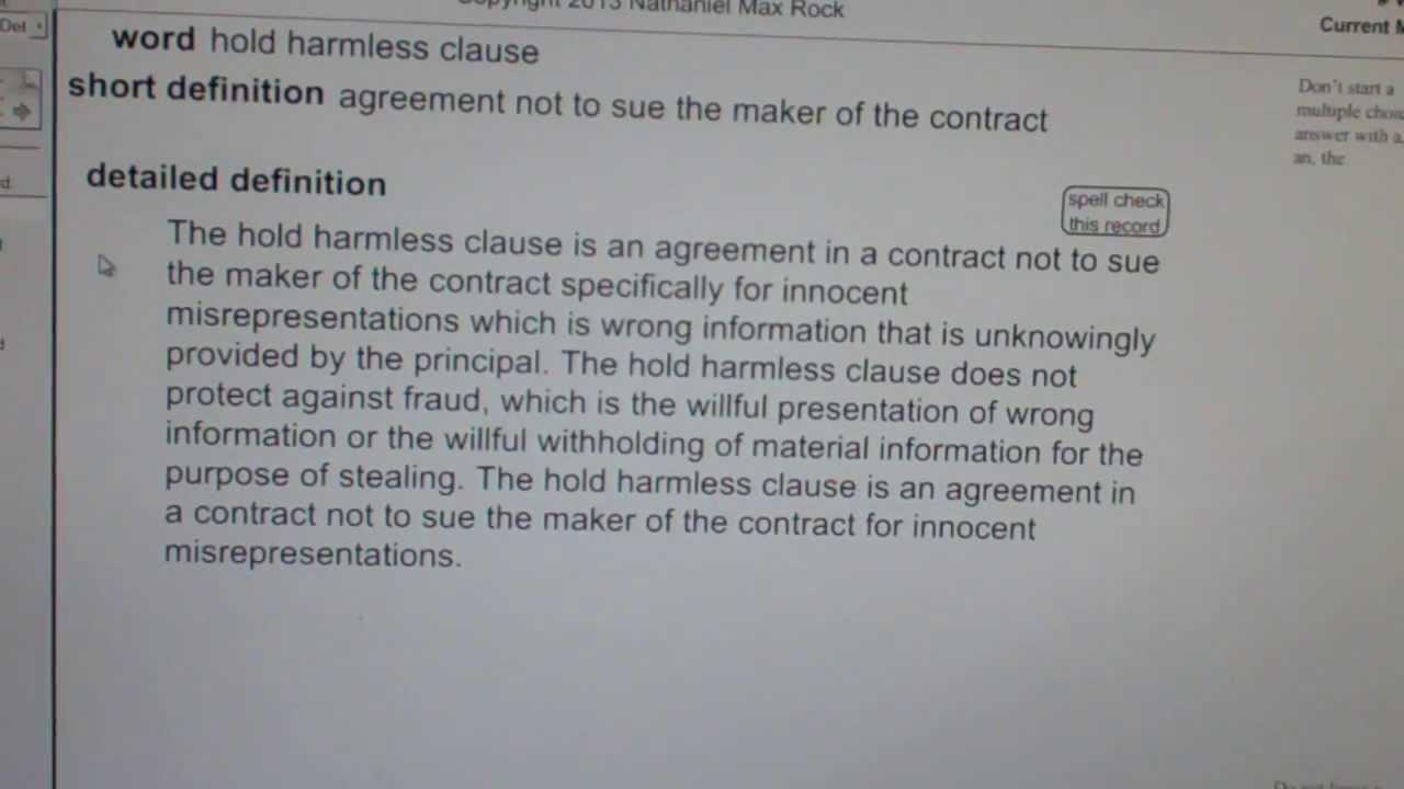 Hold Harmless Clause Ca Real Estate License Exam Top Pass Words  Vocabubee.com