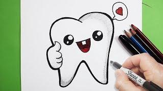 رسم أسنان كيوت | رسم كيوتات |  رسم أطفال سهل | تعليم الرسم للاطفال