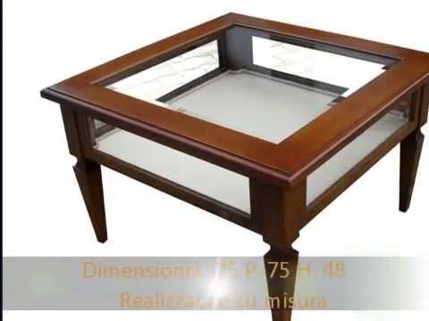 Tavolino tavolini artigianali da salotto classici con vetro a bacheca ...