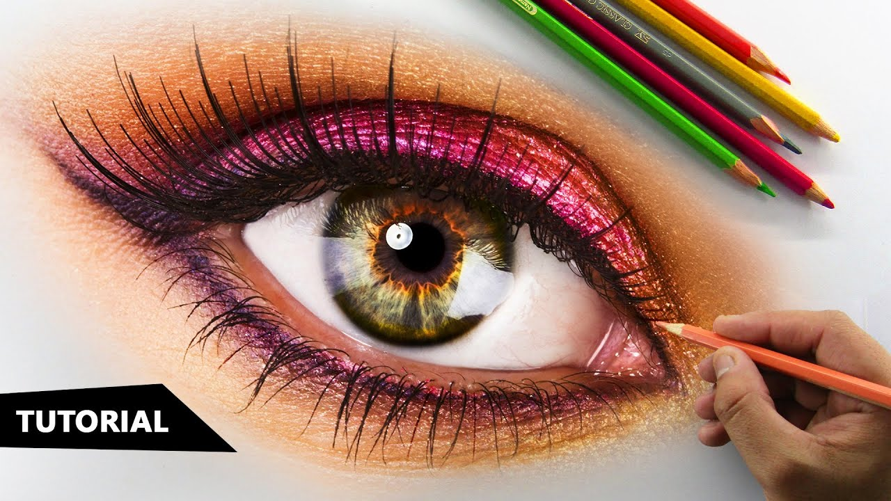 How To Draw Realistic Eye With Colored Pencils Tutorial For Beginners Youtube