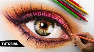 How to Draw Realistic EYE with Colored pencils | Tutorial for BEGINNERS