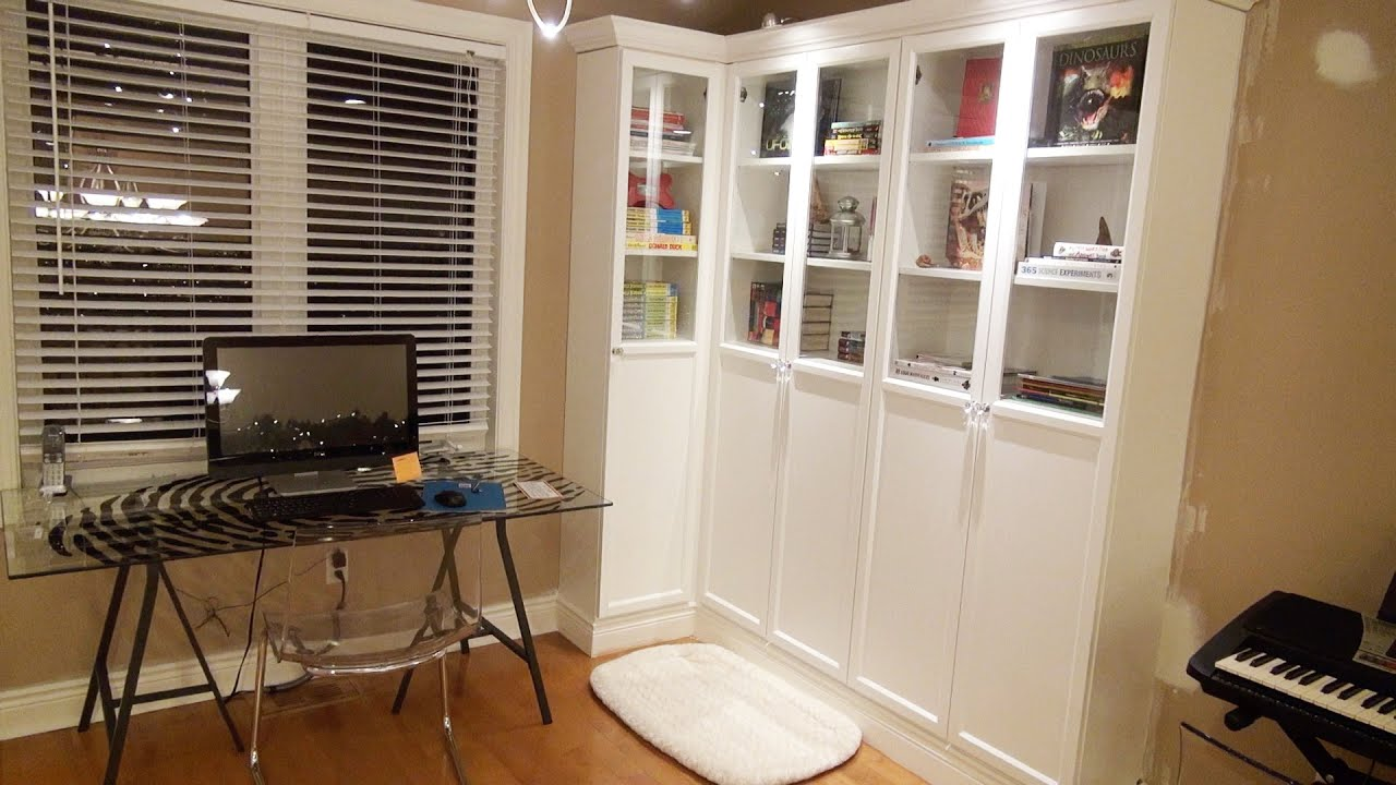 how to make an ikea bookcase look like a professional built in youtube - Ikea Built In Bookshelves