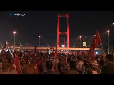 Anti-coup protesters gather on the Bosphorus