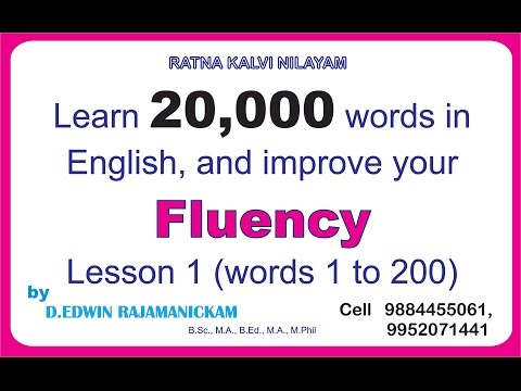Learn 20,000 words and improve your Fluency (with Tamil meanings), Lesson - 1  Ph 98844 55061