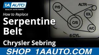 how to replace serpentine belt 99-06 chrysler sebring  youtube