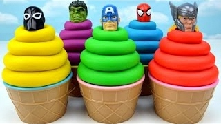 Play-Doh Superhero Ice Cream Scoops for Kids Learn Colors Finger Family Nursery Rhymes Eggs Surpris