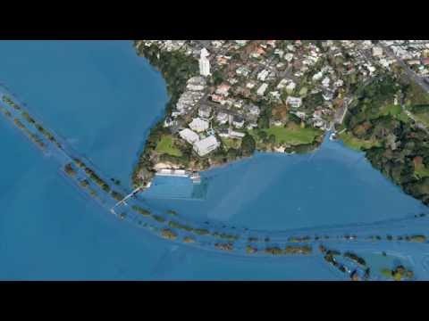 Sea level rise: Simulation of a three-metre rise in Auckland, New Zealand