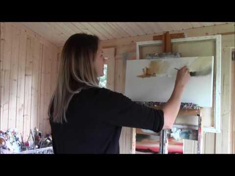 Scottish landscape artist Rosanne Barr in her studio