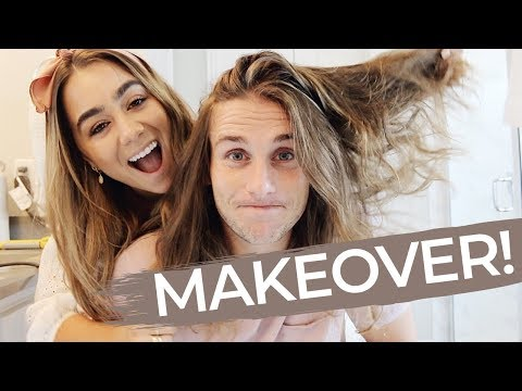 HUSBAND MAKEOVER! Doing my husbands long hair | JULIA HAVENS