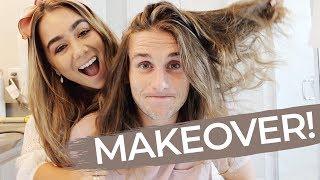 HUSBAND MAKEOVER! Doing my husbands long hair | JULIA HAVENS
