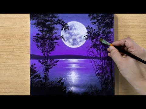 Full Moon Painting / Acrylic Painting for Beginners / STEP by STEP #173 / 보름달 풍경화