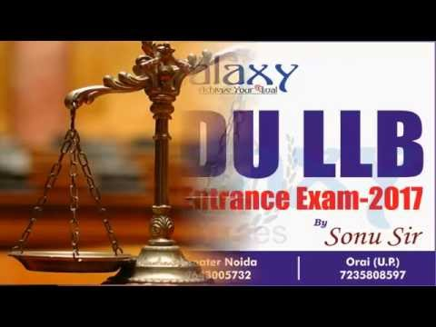 Strategy To Crack DU LLB Entrance Exam - 2017 By Sonu Sir