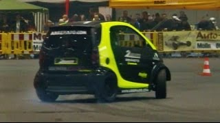 Smart Car with Hayabusa Engine - Smart Hayabusa Donuts and Race - Brutal Exhaust Sound