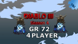 Diablo 3 - GR 72 - 4 Player - Season 4 - Barbarian zDPS POV