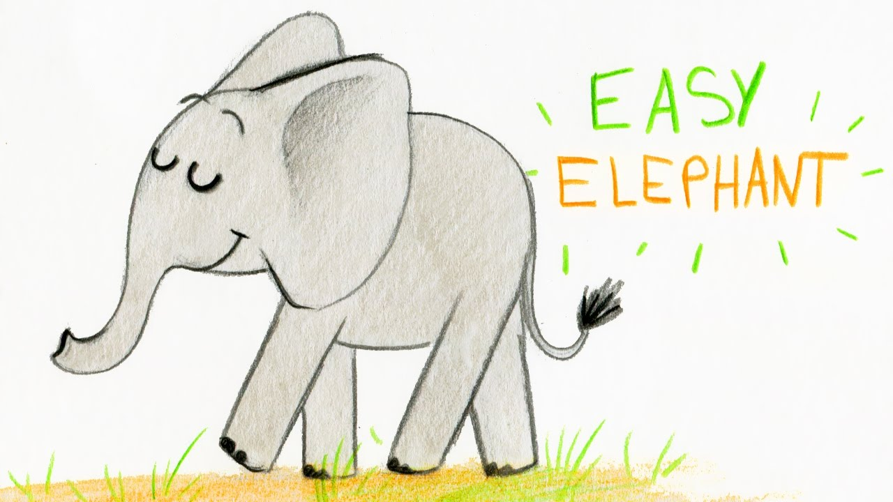 How to draw a cute elephant easy way comment dessiner facilement un l phant youtube - Comment dessiner un elephant facilement ...