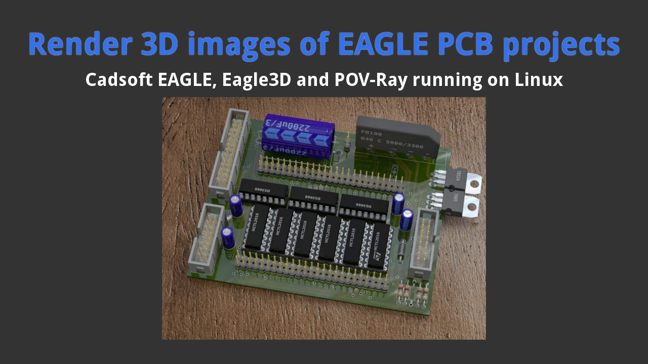 Render 3D images of EAGLE PCB projects using POV-Ray - YouTube