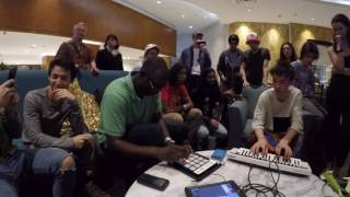 Jacob Collier and Larnell Lewis jamming at the groundup music fest