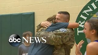 Soldier Surprises Kids at School