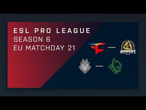 CS:GO: FaZe vs. GODSENT | G2 vs. Heroic - Day 21 - ESL Pro League Season 6 - EU 2nd Stream