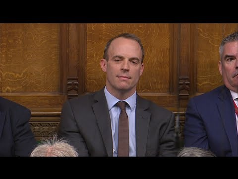 The awkward moment Theresa May thanks Dominic Raab