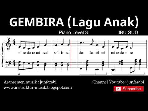 Notasi Balok Gembira - Tutorial Piano Level 3 - Not Lagu Anak Indonesia - Instrumen