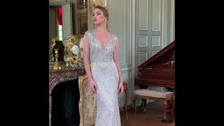 LG457 Real Photo Couture Deep V Neck Beaded Pageant Gown