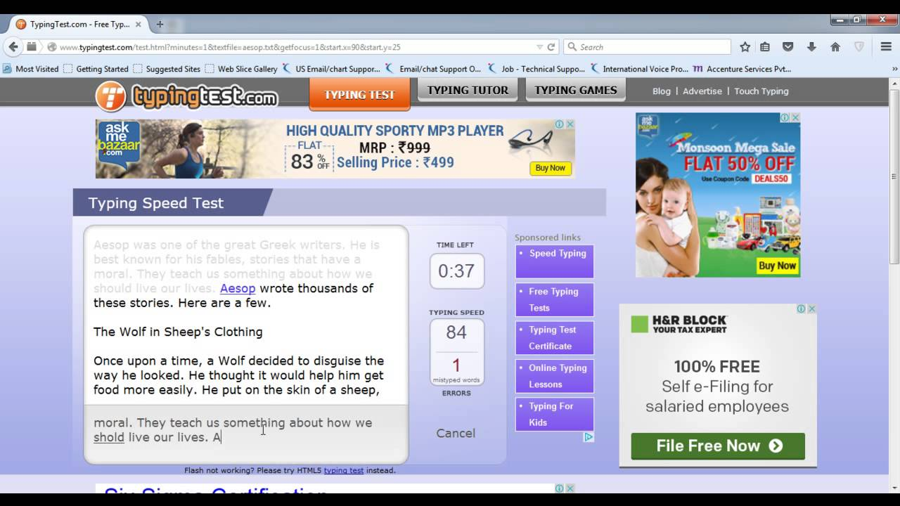 Typing Test (Aesop Fables - 1 Minute ) - 71 WPM - YouTube