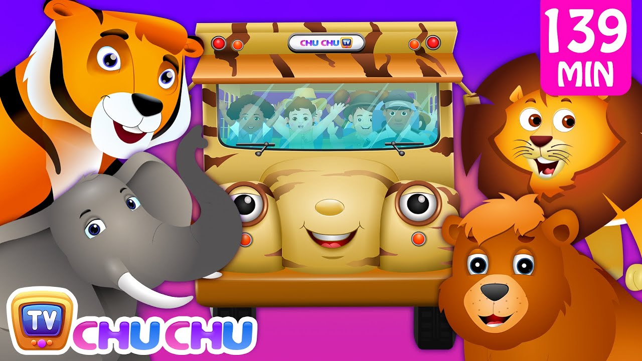 Wheels on the Bus - Wild Animals & Animal Sounds and Many more Nursery Rhymes Collection | ChuCh