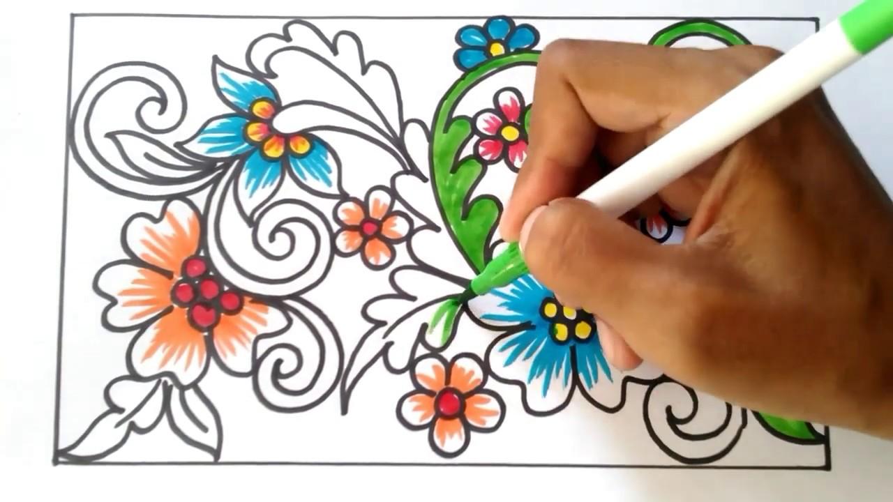 Menggambar Ragam Hias Flora #2 - YouTube