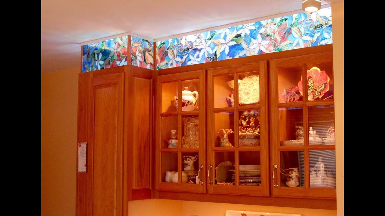 Kitchen cabinet faux stained glass and LED lighting - YouTube