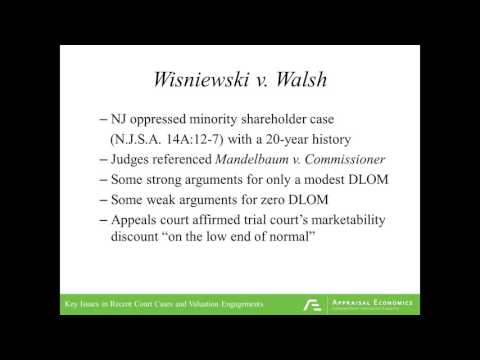 Key Issues in Recent Court Cases and Valuation Engagements