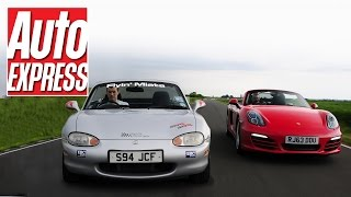 Supercharged Mazda MX-5 (Miata) MK2 vs New Porsche Boxster track battle
