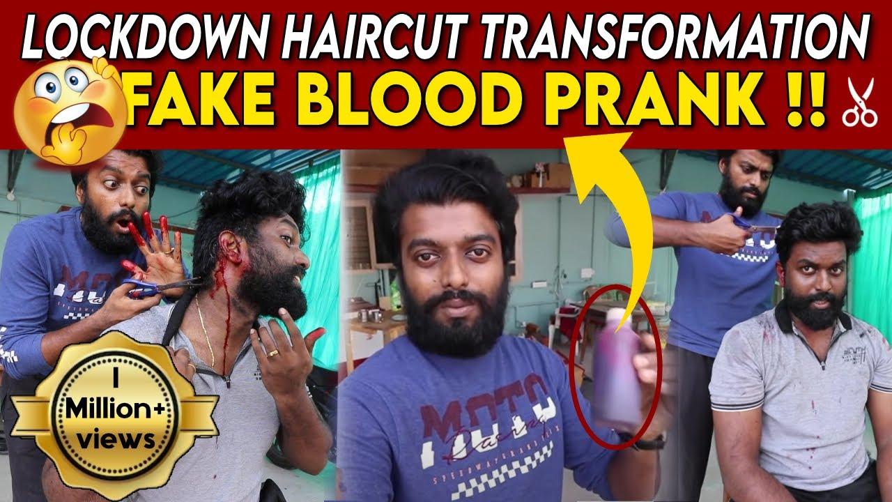 FAKE BLOOD PRANK !! Lockdown Haircut Transformation