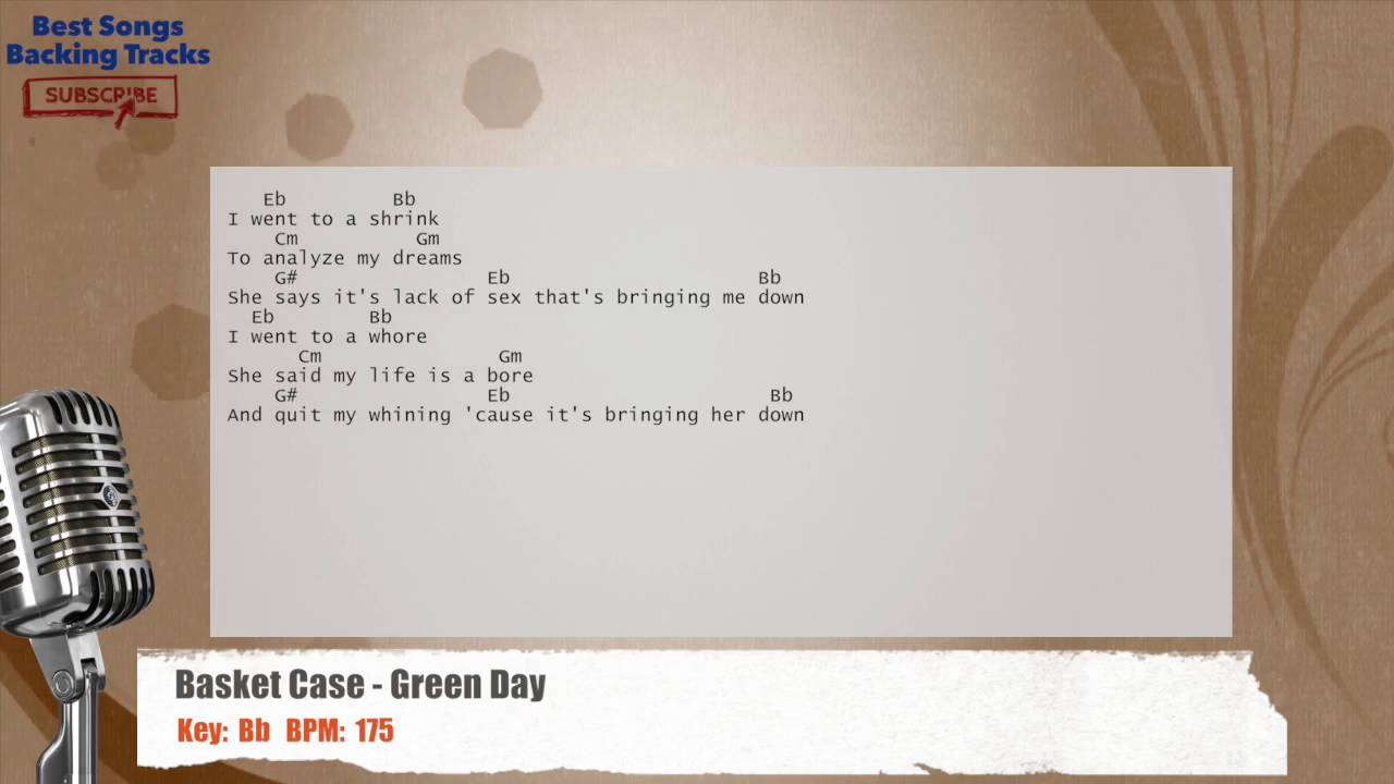 Basket Case Green Day Vocal Backing Track With Chords And Lyrics