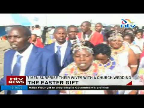 Kajiado men treat their wives to a surprise Easter wedding