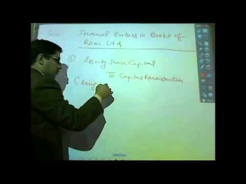 Internal Reconstruction Basics (CA-IPCC Accounts) [By CA. Ravi Chugh]