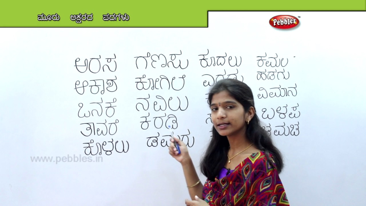 Learn Three Letter Words In Kannada Preschool Learning Videos