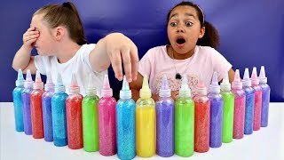 3 COLORS OF GLUE SLIME CHALLENGE!! Slime Fails | Toys AndMe