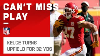 Kelce pulls a few fancy moves and takes mahomes dart up the field for 32 yards. las vegas raiders take on kansas city chiefs during week 5 of 2...