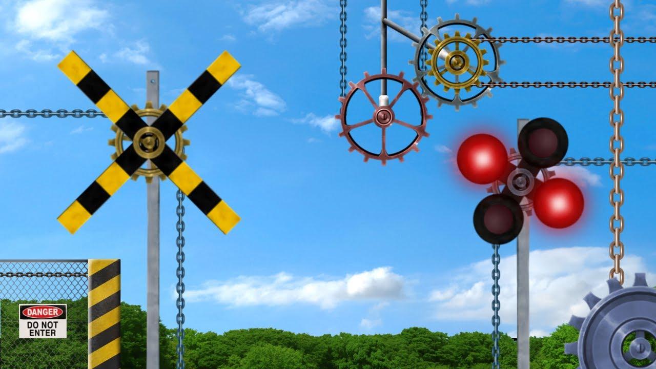 【踏切】ぜんまい仕掛けの変なふみきり / Train & Railroad Crossing - Mechanical Crossing -