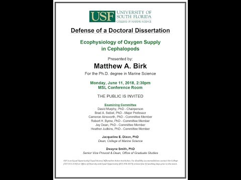 Matthew A Birk For The PhD Degree In Marine Science YouTube