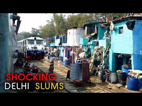 Train inside the Slums of Delhi | Indian Railways