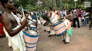 Chenda melam percussion ritual drummers in Kerala, India  (HD)