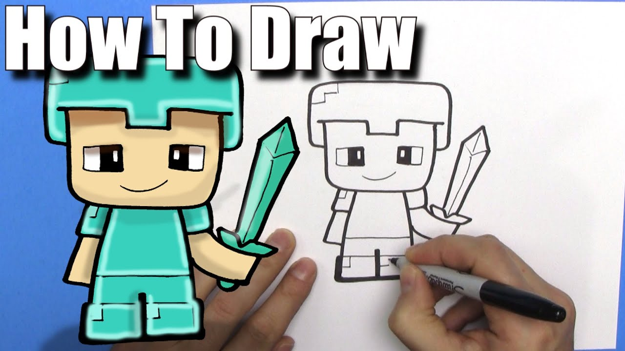 How To Draw A Cute Cartoon Minecraft Steve With Diamond Armour  Easy Chibi   Step By Step  Kawaii