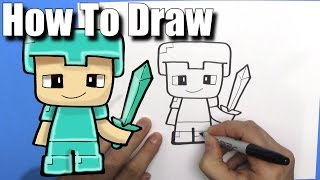 How To Draw a Cute Cartoon Minecraft Steve with diamond armour - EASY Chibi - Step By Step - Kawaii
