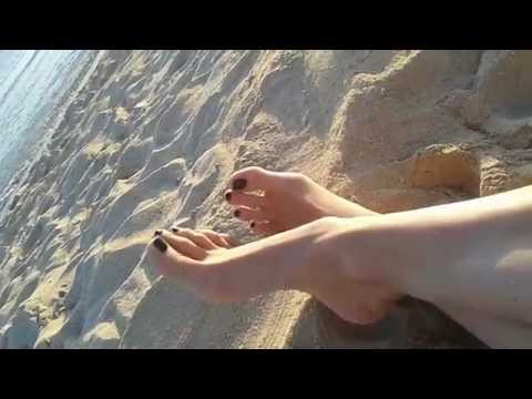 Sexy Long Toes with Black Nail Polish On The Beach I