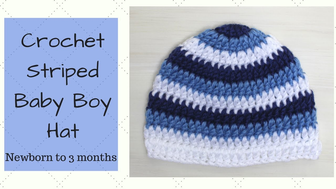 11398db5d Crochet Striped Baby Boy Hat - Newborn to 3 months